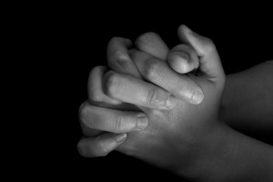 Praying hands b & w